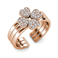 Tri Clover Ring - Cincin Crystal Swarovski by Her Jewellery