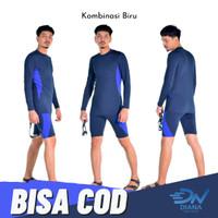 Setelan renang pria dewasa jumbo celana renang pria dan baju renang - Biru, XL
