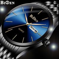 jam tangan Biden pria Bisnis Santai Tali stainless steel Tahan Air jam