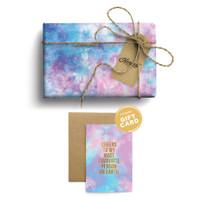 Paket Kertas Kado & Kartu Harvest Tie Dye Gift Set - Blue Pink