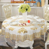 Taplak Meja Makan Bulat Bundar Anti Air Gold Mewah