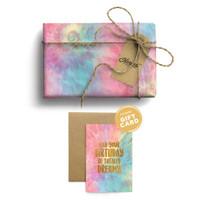 Paket Kertas Kado & Kartu Harvest Tie Dye Gift Set - Pink