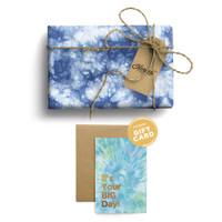 Paket Kertas Kado & Kartu Harvest Tie Dye Gift Set - Dark Blue