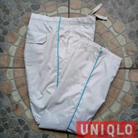 Celana training parasut uniqlo putih list biru second