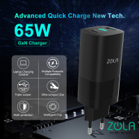 Zola Power Cube Charger GaN 65W fast charger QC 4.0 PD 3.0 PPS FCP SCP