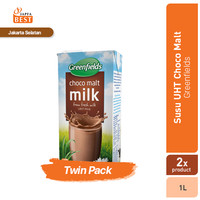 Susu UHT Choco Malt Greenfields 1 L - Twin Pack