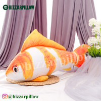 Bantal Bentuk Ikan Koi Velboa Printing - M-oren