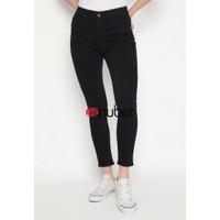 Celana Panjang Jeans Highwaist Wanita Black Hitam Stretch - TulipV2