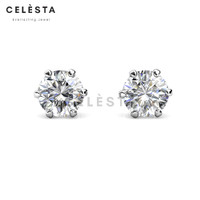 Les Solitaire Earrings - Moissanite diamond Celesta by Her Jewellery