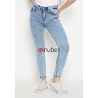 Celana Panjang Jeans Highwaist Wanita Snow Blue Stretch - Tulip