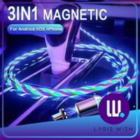 Lariswish Kabel Data Magnet Lampu LED 3 IN 1 Micro Lightning Type C - Putih