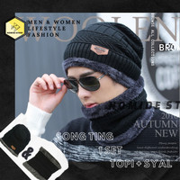 Topi Kupluk n Syal Wool Winter Import Pria Wanita STAR STYLE -BLACK - SONG.T-1 BLACK