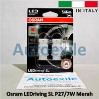 Osram LEDriving SL P27/7W Merah Red LED 3157 Italy Lampu Rem Mobil