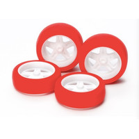 Large dia 5 sp wheels & red slick tire - 15504