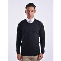 Sweater Rajut Pria Gomuda - V-Neck Polos Hitam
