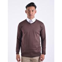 Sweater Rajut Pria Gomuda - V-Neck Polos Coffee