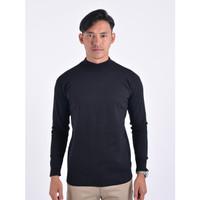 Sweater Rajut Pria Gomuda Mock Turtleneck - Hitam