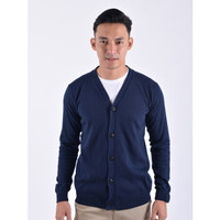 Sweater Rajut Pria Gomuda Cardigan Clean - Navy