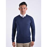 Sweater Rajut Pria Gomuda - V-Neck Polos Navy