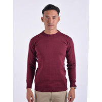 Sweater Rajut Pria Gomuda O-Neck Polos - Marun
