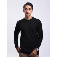 Sweater Rajut Pria Gomuda - O-Neck Polos Hitam