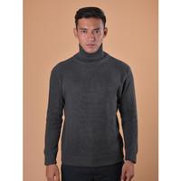 Sweater Rajut Pria Gomuda Cord TurtleNeck - Abu Tua