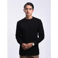 Sweater Rajut Pria Gomuda O-Neck Cord - Hitam