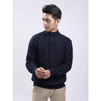 Sweater Rajut Pria Gomuda - Cable Button Mockneck Navy - Navy, XL