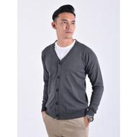 Sweater Rajut Pria Gomuda Cardigan Clean - Abu Tua
