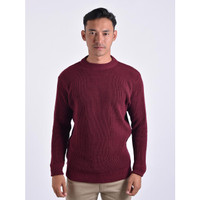 Sweater Rajut Pria Gomuda O-Neck Cord - Marun