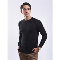 Sweater Rajut Pria Gomuda Signature O-Neck Mats - Black