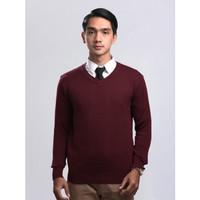 Sweater Rajut Pria Gomuda Signature V-Neck Hive - Marun - Maroon, M