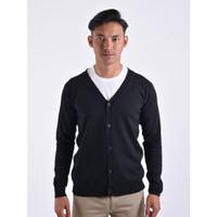 Sweater Rajut Pria Gomuda Cardigan Clean - Hitam