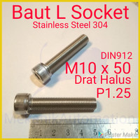 Baut L M10 x 50 P1.25 Halus SUS304