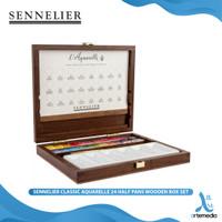 Cat Air Sennelier Classic Aquarelle 24 Half Pan Wooden Box Set