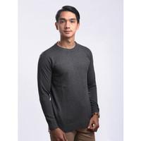 Sweater Rajut Pria Gomuda - O-Neck Polos Abu Tua