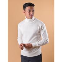 Sweater Rajut Pria Gomuda Signature Roll Neck - Off White - Off White, M