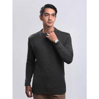 Sweater Rajut Pria Gomuda O-Neck Cord - Abu Tua