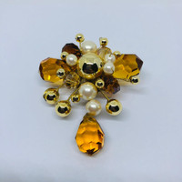 Torenda Bros Butterfly Crystal Gold Pearl