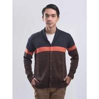 Sweater Rajut Pria Gomuda Signature Cardigan Stripe - Navor-Coffee