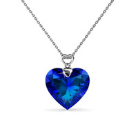Royal Blue Heart Pendant - Kalung Crystal Swarovski by Her Jewellery