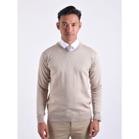 Sweater Rajut Pria Gomuda - V-Neck Polos Choco