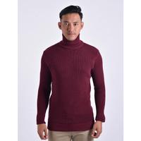Sweater Rajut Pria Gomuda Cord TurtleNeck - Marun
