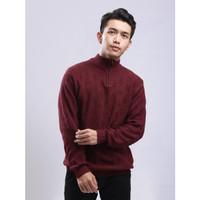 Sweater Rajut Pria Gomuda - Cable Zip Mockneck Marun Tua