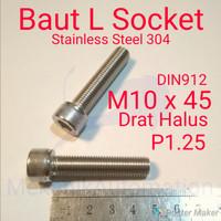 Baut L M10 x 45 P1.25 Halus SUS304
