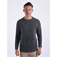 Sweater Rajut Pria Gomuda O-Neck Cord Twist - Dark Grey