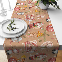 TAPLAK MEJA TABLE RUNNER NATAL PEACH SANTA 140X40CM