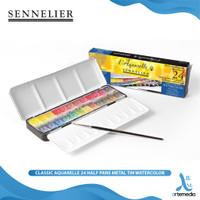 Cat Air Sennelier Classic Aquarelle 24 Half Pan Metal Tin Watercolor