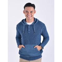 Sweater Rajut Pria Gomuda Hoodie Button Neck - Blue Denim