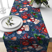 TAPLAK MEJA TABLE RUNNER NATAL BLUE RED CHRISTMAS SOCKS 140X40CM
